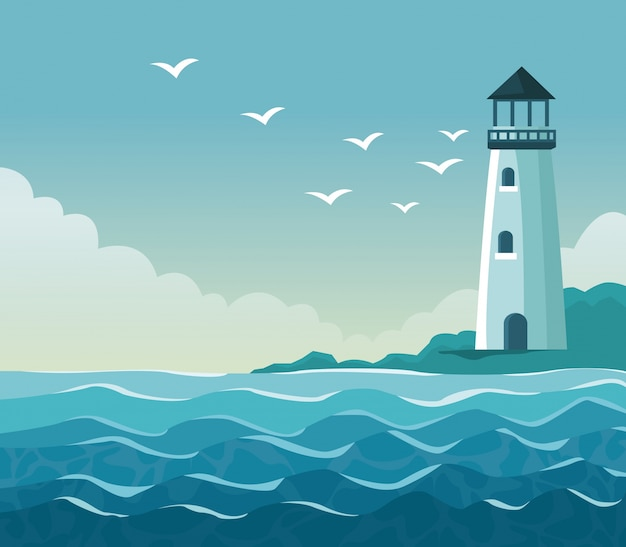 Colorful poster seaside with lighthouse in coast Premium Vector