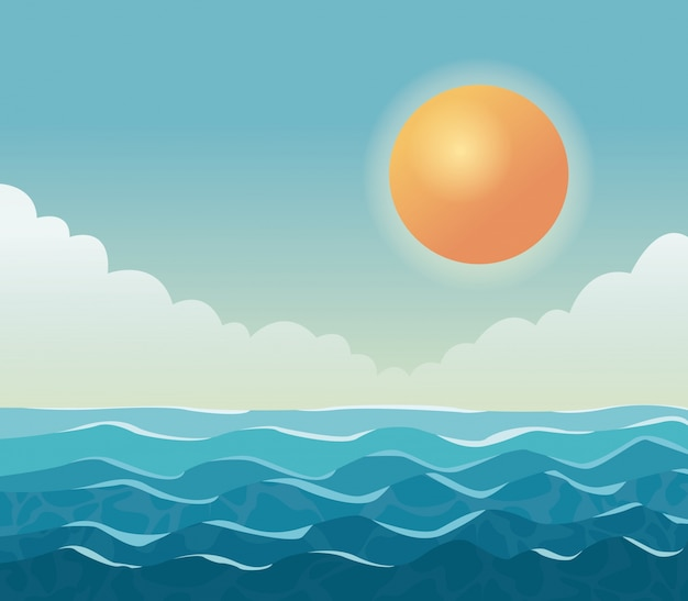 Colorful poster sky ocean landscape with clouds and sun Premium Vector