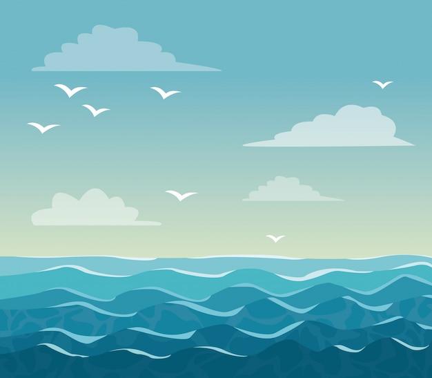 Colorful poster sky ocean landscape Premium Vector