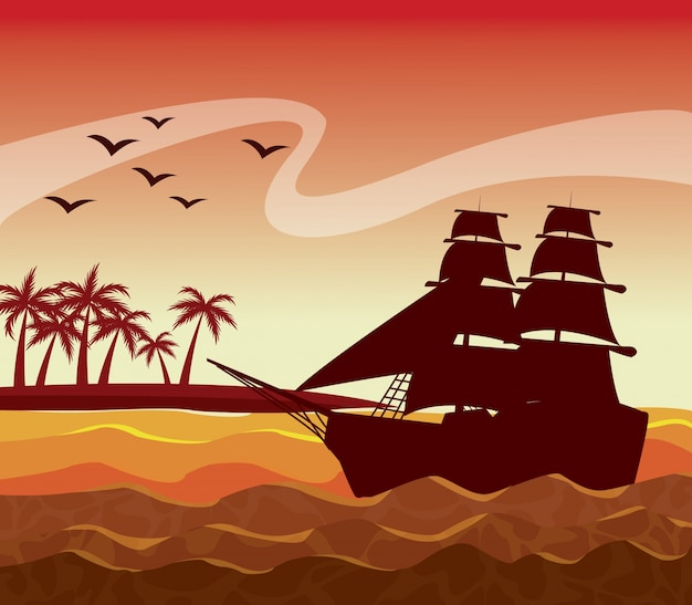 Colorful poster sunset sky landscape of palm trees on the beach and sailboat on the waves Premium Vector