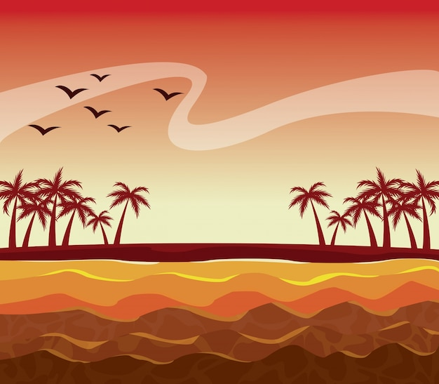 Colorful poster sunset sky landscape of palm trees on the beach Premium Vector