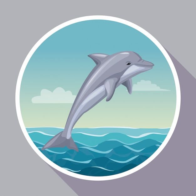 Colorful poster with circular frame of seaside with dolphin mammal ...