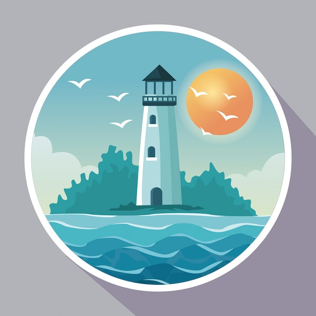 Colorful poster with circular frame of seaside with lighthouse in coast with sun in the sky Premium Vector