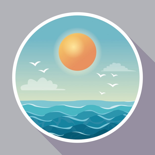 Colorful poster with circular frame of sky ocean landscape with clouds and sun Premium Vector