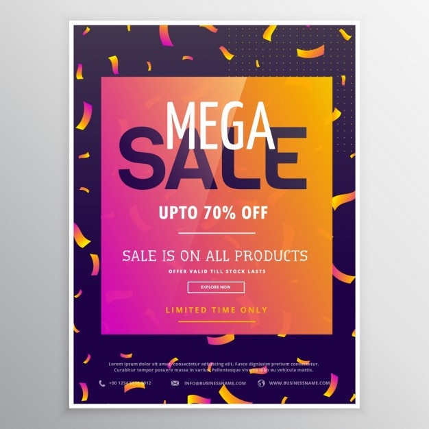 Colorful poster with confetti for discounts Free Vector