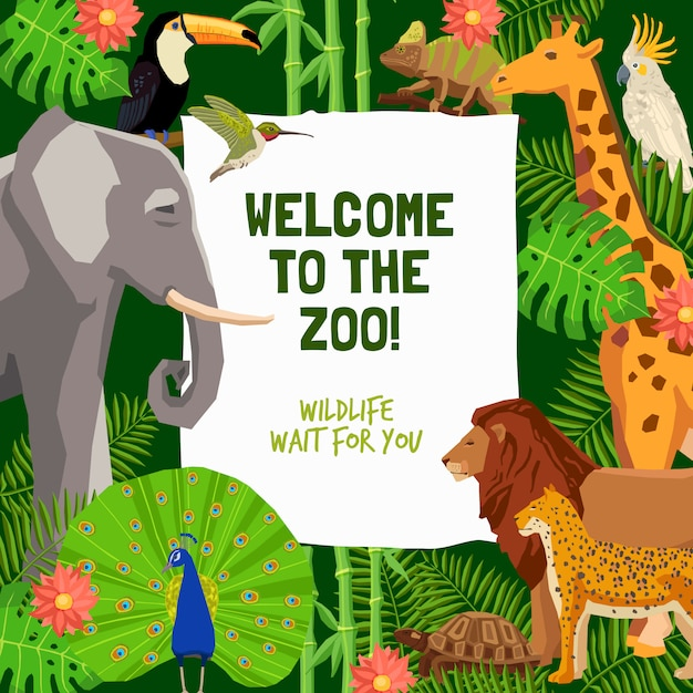 Colorful poster with invitation to visit zoo Free Vector