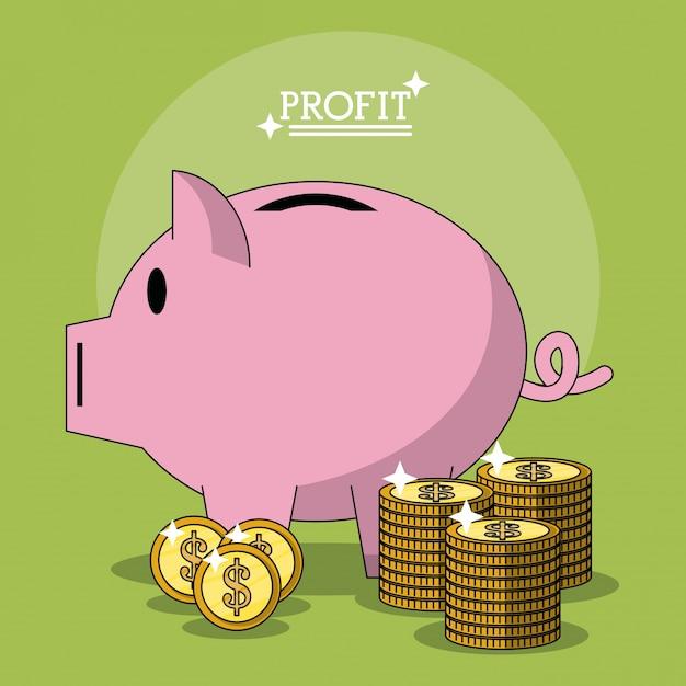 豚とコインの積立金箱形のカラフルなポスター Premiumベクター