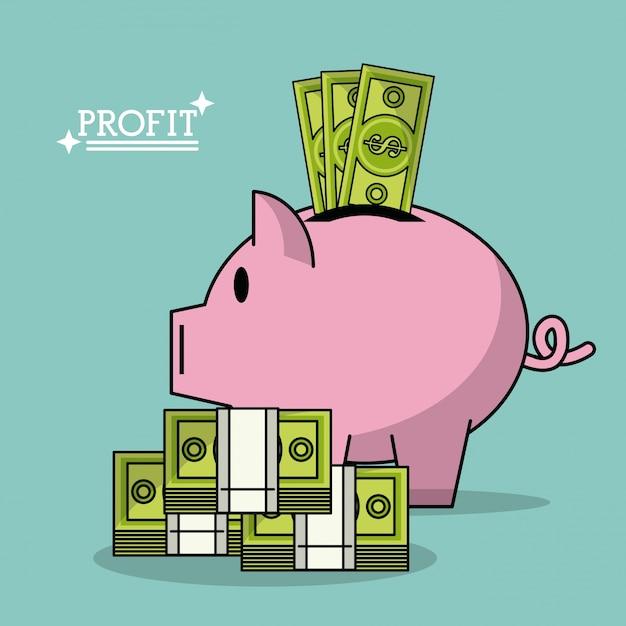 利益、お金、ボックス、形、豚、お金、紙幣、積み重ね、カラフル、ポスター Premiumベクター