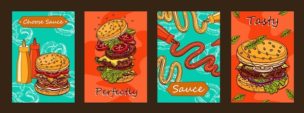 Colorful posters design with burger and sauce. Free Vector