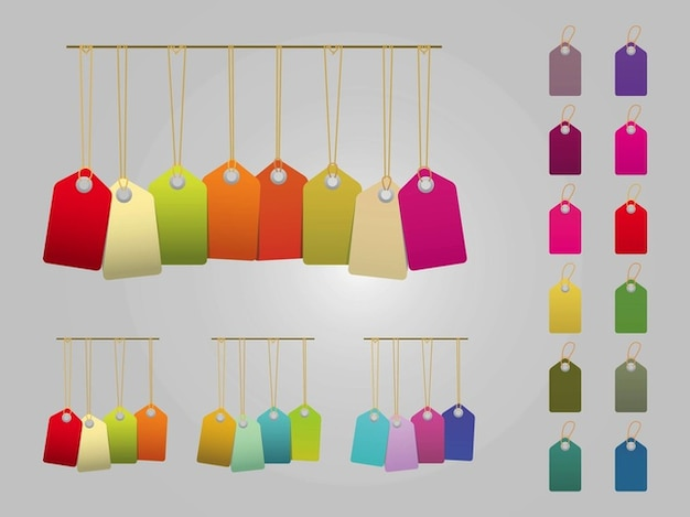 Colorful price tag labels in vector pack