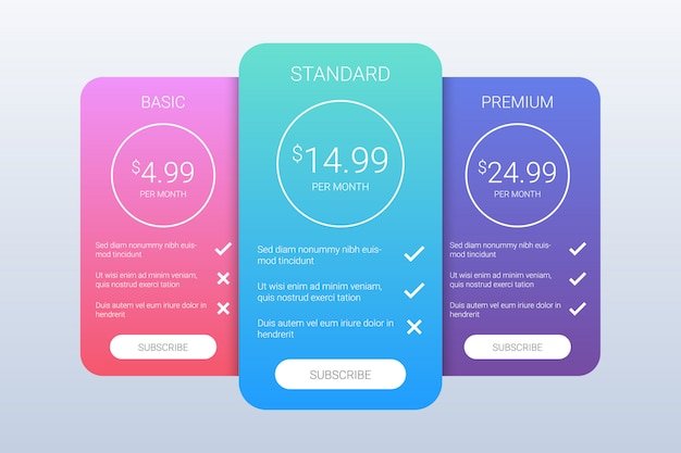 Colorful pricing plans template Premium Vector
