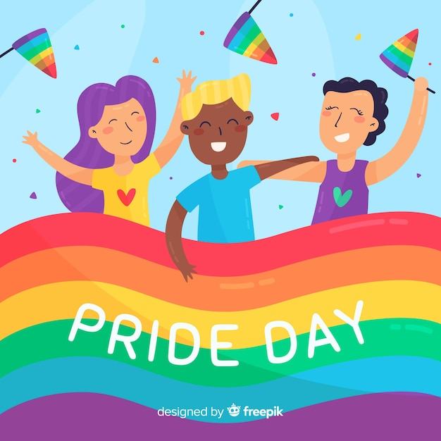 Colorful pride day flag background Free Vector