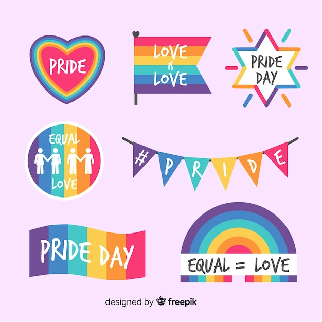 Colorful pride day label collection Free Vector