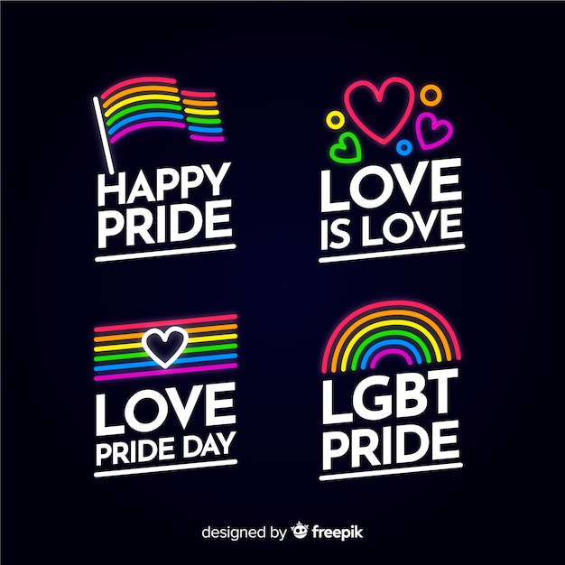 Colorful pride day labels collection Free Vector