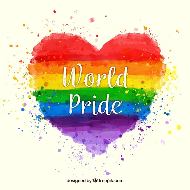 Colorful pride watercolor heart background Free Vector
