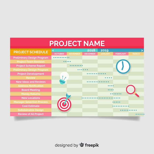 Free Vector Colorful Project Schedule Template With Flat Design