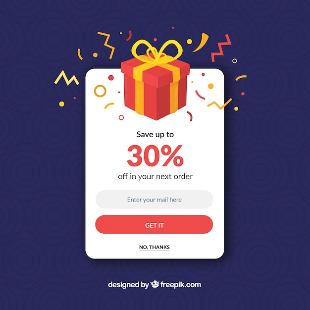 Colorful promotion pop up with flat design Free Vector