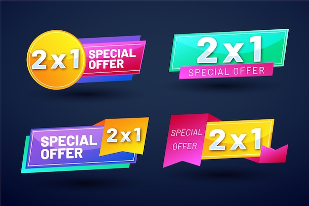 Set di etichette promozionali colorate Vettore gratuito