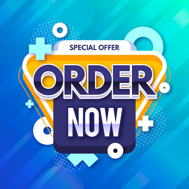 Colorful promotional order now banner template Premium Vector