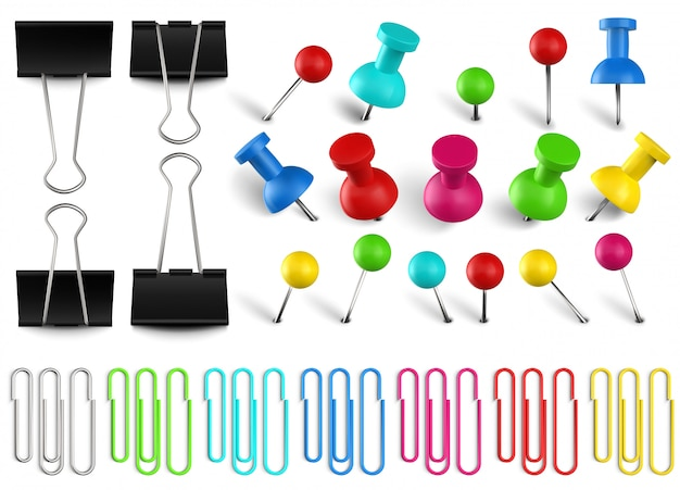 Colorful pushpins and paperclips binders. color paper clip, red pushpin and office papers clamp. realistic pins set. multicolored stationery items. school and secretary accessories Premium Vector