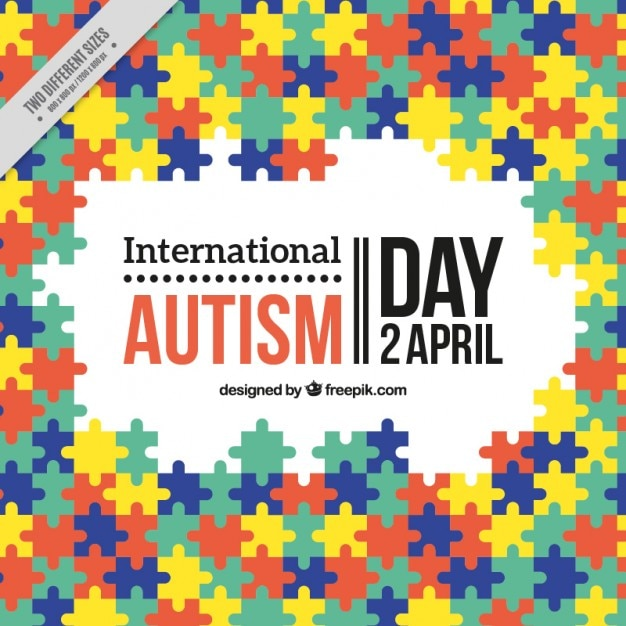 Colorful puzzle International Autism Day background Free Vector