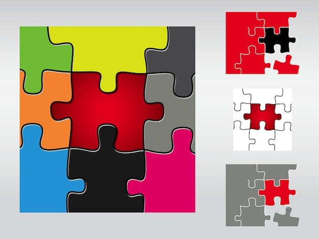colorful puzzle pieces connections game vector free download