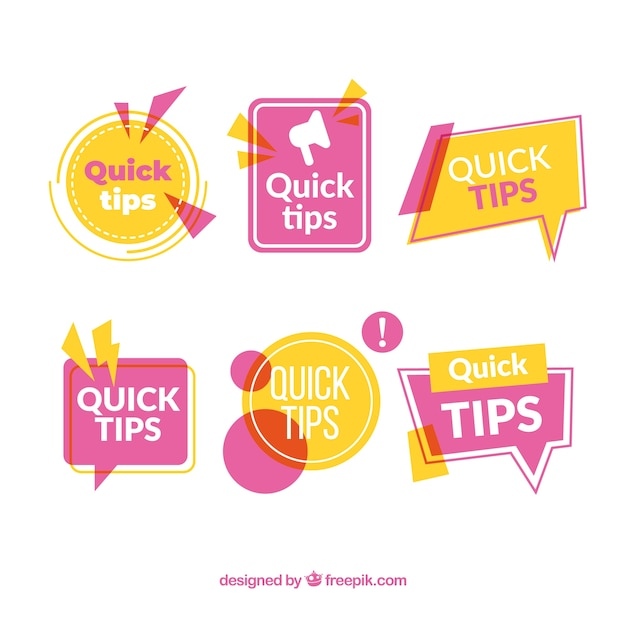 Colorful quick tips badge collection Free Vector