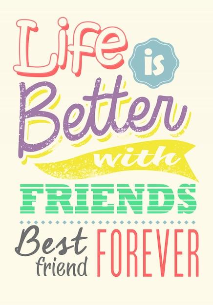Colorful quote of friendship Premium Vector
