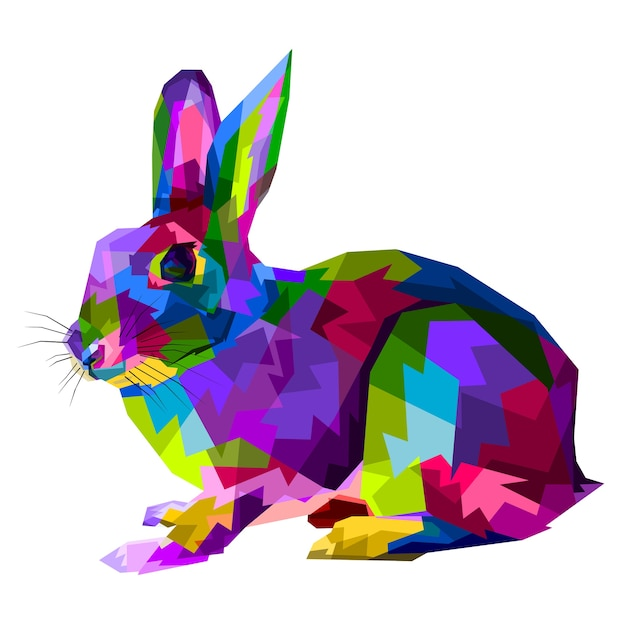 Colorful rabbit on  pop art style Premium Vector