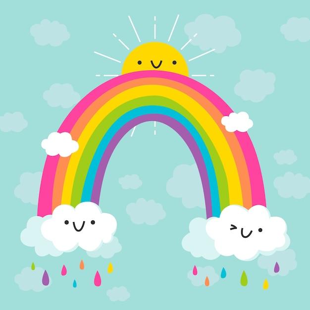 Красочная радуга плоский дизайн Бесплатные векторы