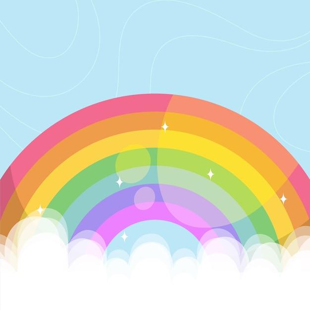 Красочная радуга проиллюстрирована в облаках Бесплатные векторы
