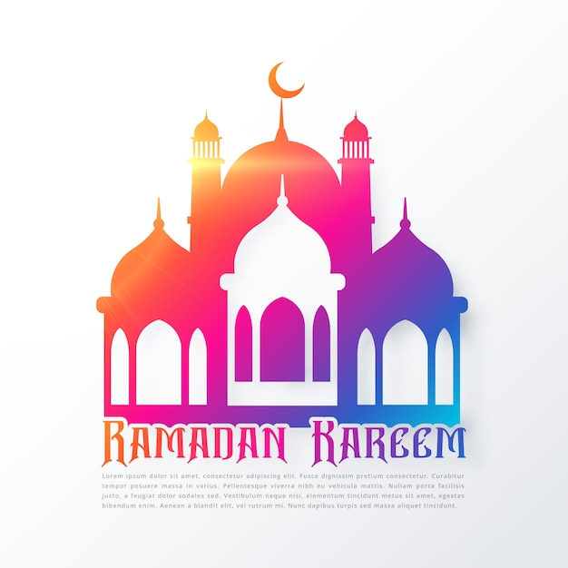 Colorful ramadan kareem design with\ mosque