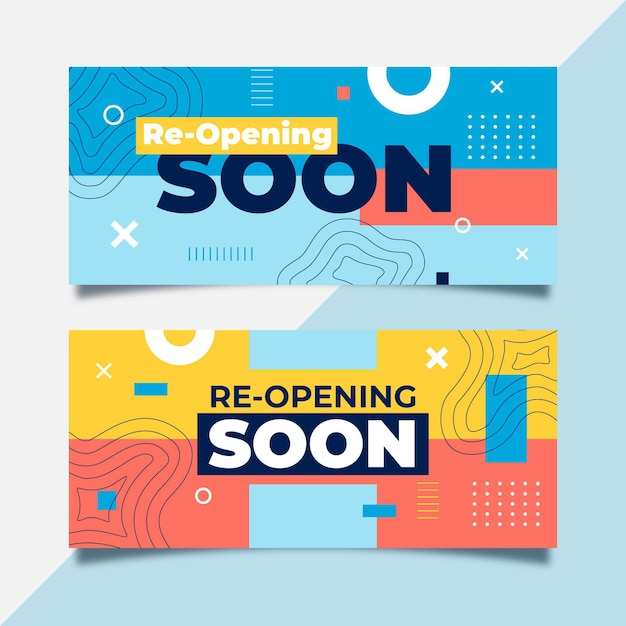Colorful re-opening soon banner Free Vector