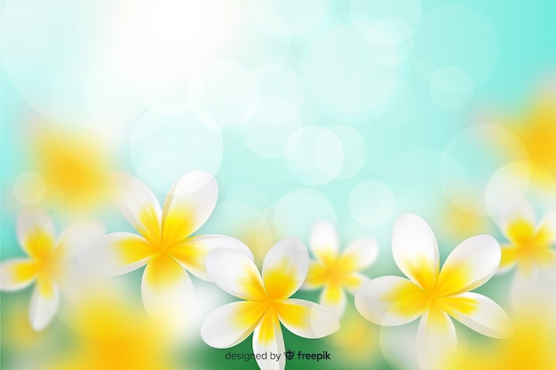 Colorful realistic flowers background Free Vector
