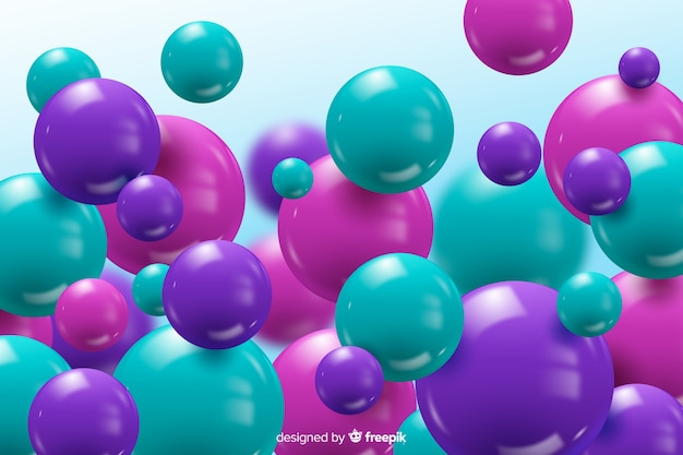 Colorful realistic flowing glossy balls background Free Vector