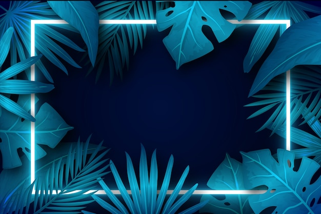 Colorful realistic leaves with neon frame Free Vector