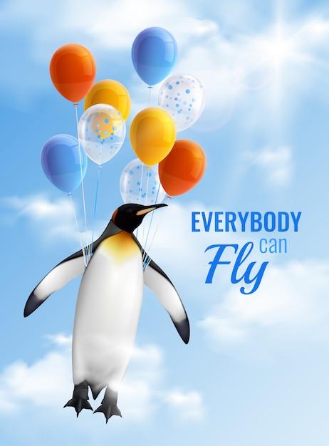 誰もが飛ぶことができる気球とやる気を起こさせるテキストで飛んでいるペンギンの画像とカラフルな現実的なポスター 無料ベクター