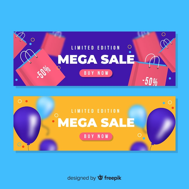 Colorful realistic sale banner set Free Vector