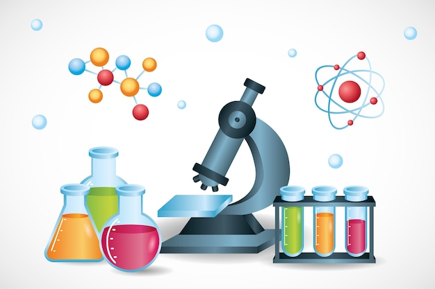 Colorful realistic science background Free Vector