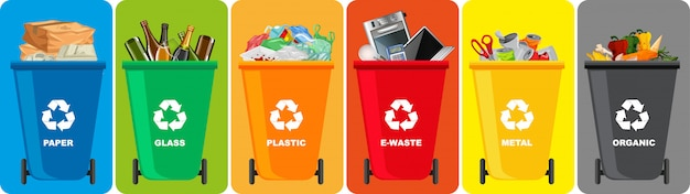 Colorful recycle bins with recycle symbol isolated on color background Free Vector