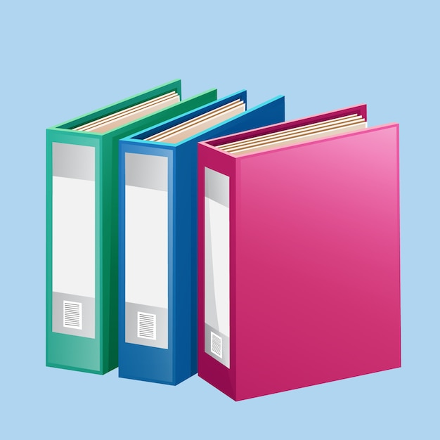 Colorful red blue green folder binder Premium Vector