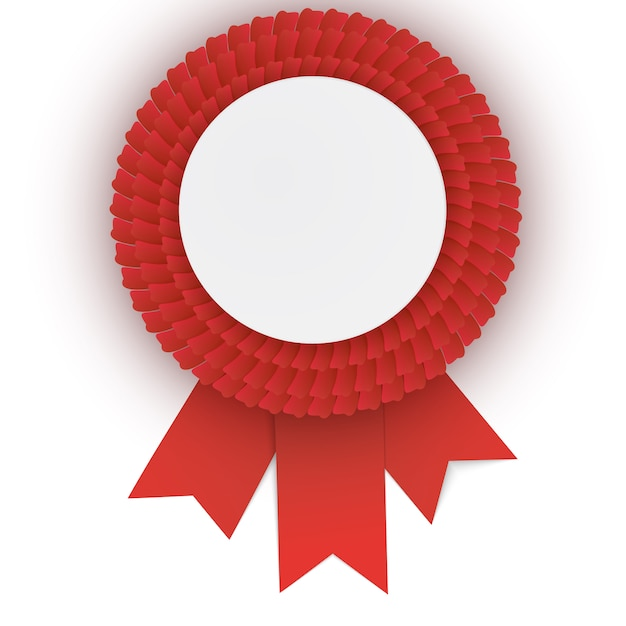 Colorful  red rosette with empty paper plate. Premium Vector