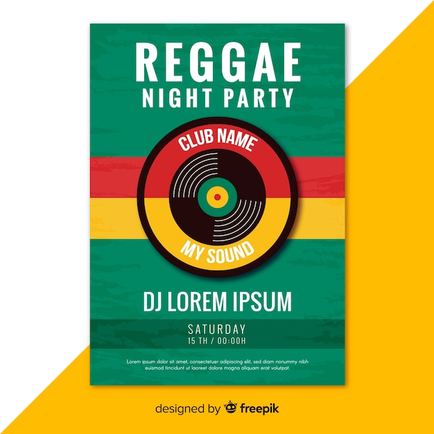 Colorful reggae party poster with flat design Free Vector