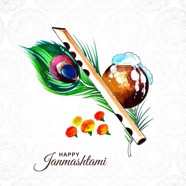Colorful religious krishna janmashtami card Free Vector