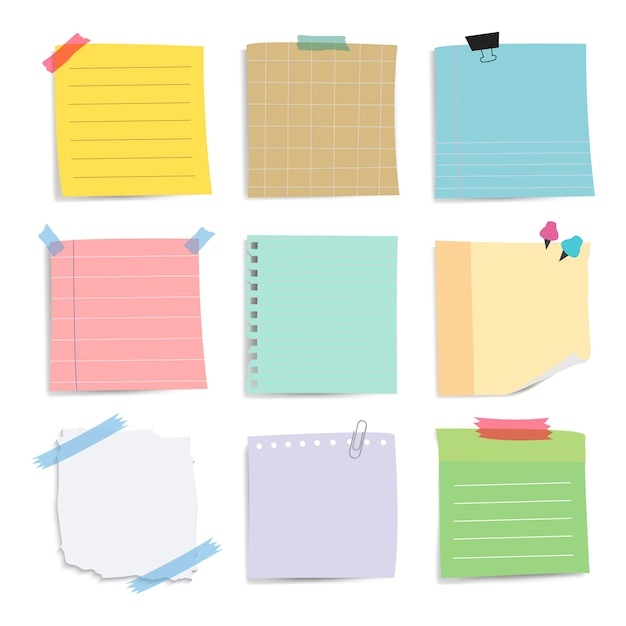 Colorful reminder paper notes vector set Free Vector