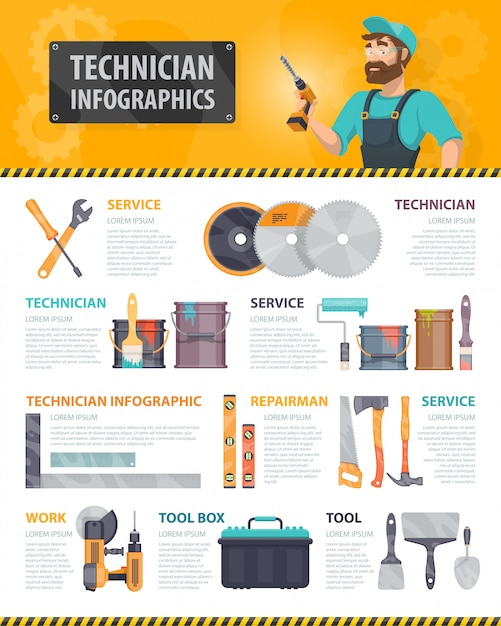 カラフルな修理サービスのインフォグラフィック 無料ベクター