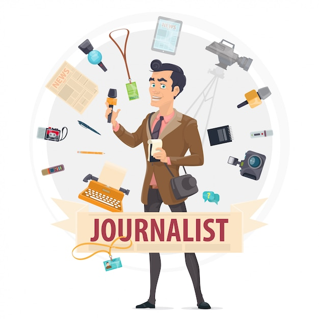 Colorful reporter round concept Free Vector