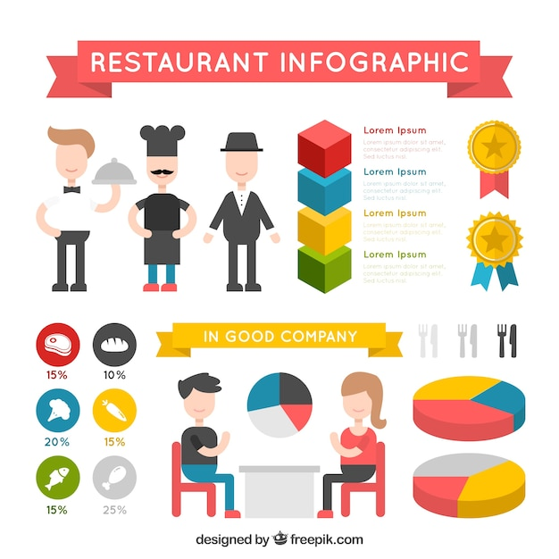 Colorful restaurant infography with infographic elements Premium Vector