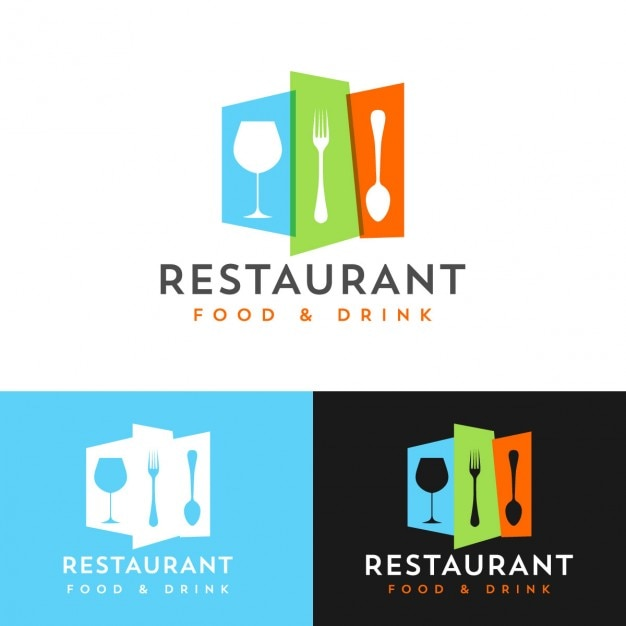 Colorful restaurant logo design vector free download