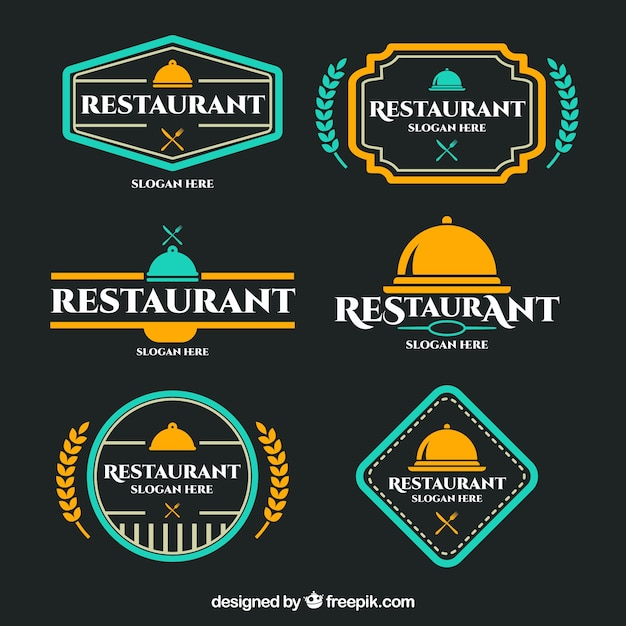 Colorful restaurant logos with badge design vector free